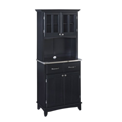 Buffet of Buffet Black with Stainless Steel Top with Hutch by Home Styles