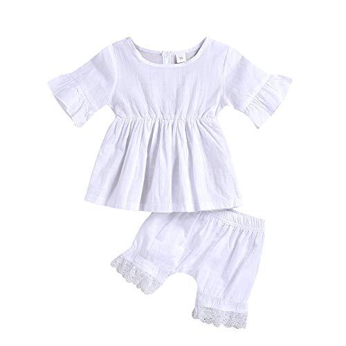 BOBORA Ensemble Bébé Fille Été 2PCs T-Shirt en Coton à Manches Courtes avec Short de Couleurs Unies 0-24Mois