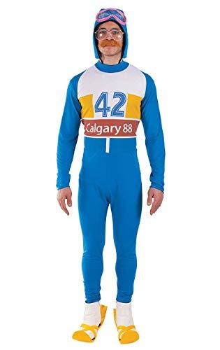 ORION COSTUMES Herren 80er Jahre Olympischer Skifahrer Filmkostüm, Einheitsgröße und XL Blau Weiß Gelb
