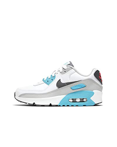 Nike Air MAX 90 LTR (GS), Zapatillas para Correr, White Iron Grey Chlorine Blue Lt Fusion Red, 36.5 EU
