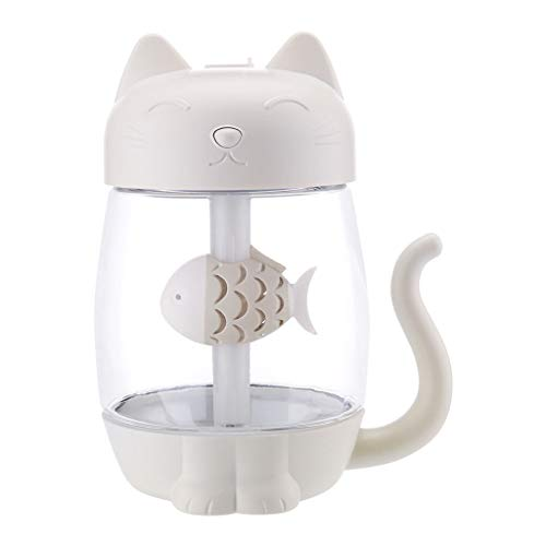 Bonarty 3 In 1 Cute Cat Shape Air Humidifier, Built-in Colorful LED Lights, Portable Fan, USB Powered for Home Office Automovile - White