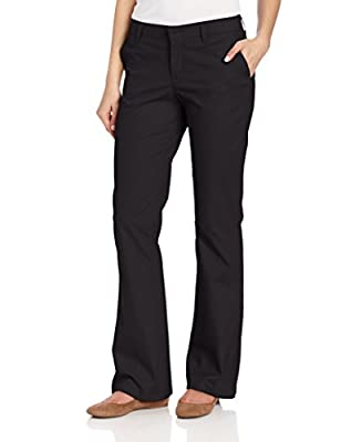 Dickies Women's Flat Front Stretch Twill Pant Slim Fit Bootcut, Black, 8 Long