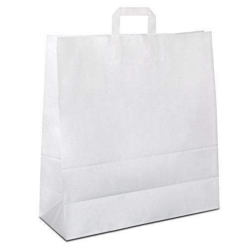 400 x Papiertüten weiß 40+16x45 cm | stabile Werbetaschen | Papierbeutel Flachhenkel | Einkaufstüten Groß | Tragetaschen Papier | HUTNER