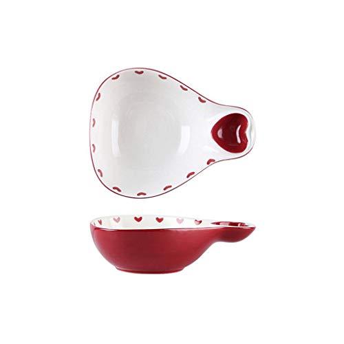 JLWM Suppenschüssel Mit Henkel Scoop-geformt, 700ML Suppenschüsseln Aus Porzellan Keramik Japan Ofen Mikrowelle Für Knödel Obst Salat Untertasse Eintauchen-rot