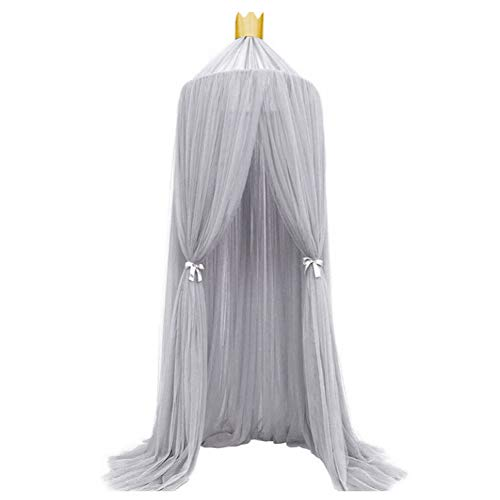 Lace Mosquito Net, Mosquito Repelling Net, Elegent Color Home Mesh Mosquito Netting Breathable Bed Canopies Drapes Durable Bed Canopy with Hanging Hook, Children Bed Decoration/Anti-mosquito(grey)
