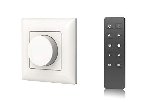 LEDUX 230V Dreh-Dimmer für LED und Halogen max. 240 Watt mit Funksteuerung - Stufenloses Dimmen ohne Flackern (Dreh-Dimmer + Fernbedienung)