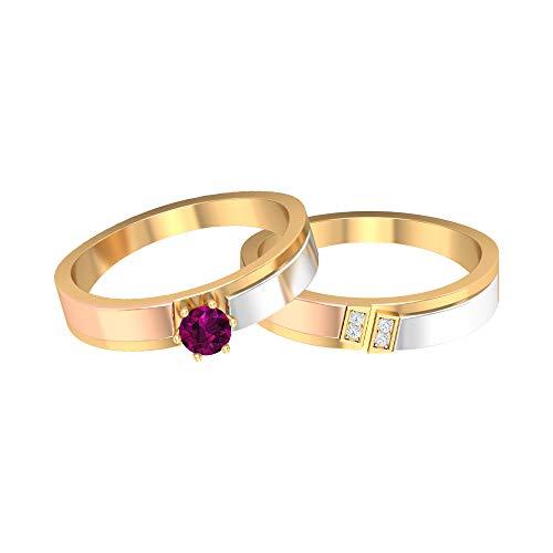 Juego de anillos de rodolita y diamante de 1/4 quilates, anillo de compromiso tres eTone, par de anillos de oro (4 mm de rodolita redonda), 14K Oro amarillo, Size:EU 70