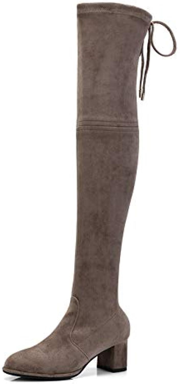 HOESCZS 2019 Frauen Overknee Hohe Stiefel Plattform Platz High Heel Spitz Winter Schuhe Frau Stiefel Groe Gre 34-43