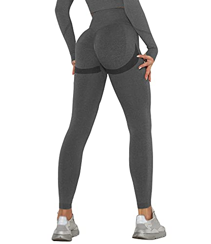 DUROFIT Leggings Sportivi Donna Anticellulite Leggings Push Up Yoga Pants Palestra Pantaloni per Correre Fitness Grigio M
