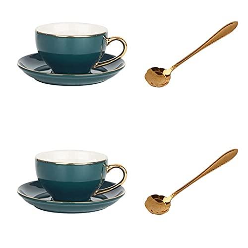Latte Art Cup - Juego de tazas de té de cerámica inglesa con soporte para tazas, taza de porcelana para uso doméstico, fiesta de té, capuchino, café espresso, cafetera, TNSYGSB