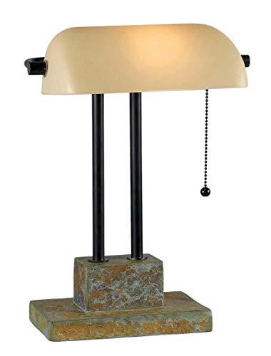 Kenroy Home 21041SL Greenville lámpara de banquero, pizarrón natural con detalles de bronce aceitado