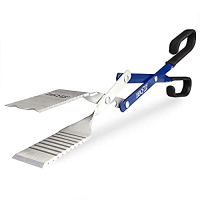 BBQCroc 3 in 1 Barbecue Tool 18-inch - Extra Light and Long Tongs, Spatula and Grill Scraper (Blue)