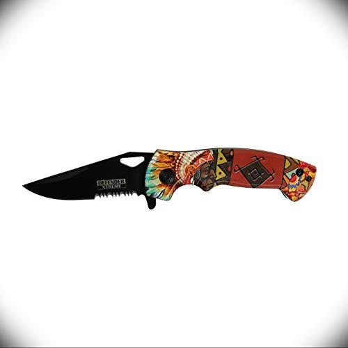 Defender-Xtreme 7.5  Native American Spring Assisted Pocket Knife for Men Shar with Ultra Sharp Blade Premium Tactical Folding Knife Survival Hunting Camping Knives