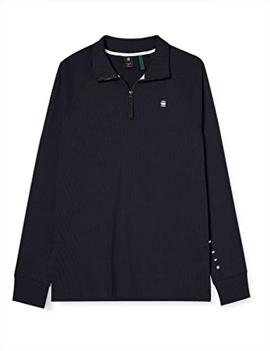 G-STAR RAW Plated Rib Half Zip Jirgi Camiseta, Mazarine Blue/Lead C544-4445, XL...