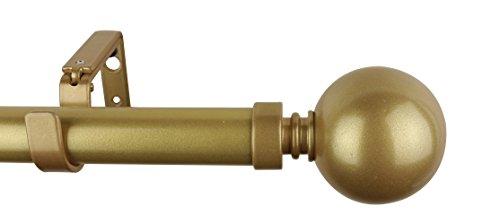 MERIVILLE 1-Inch Diameter Ball Single Window Treatment Curtain Rod, 84-Inch to 120-Inch, Gold