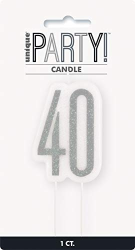 Unique Party - Vela de Cumpleaños 40 - Diseño de Negro y Plateado Glitz (83868)