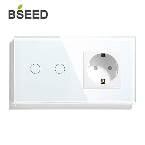 BSEED Dimmer Schalter mit Steckdose mit LED Anzeige 2 Fach 1 Weg Berühren Sie Das Sensorfeld Touchscreen Wandsteckdosen Led Dimmer Touch Lichtschalter Weiß