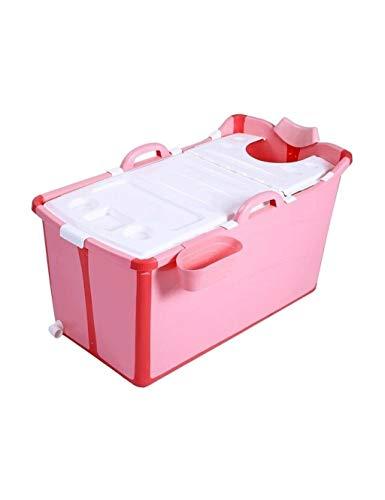 HYM Bañera Portátil Plegable para Bebés Y Adultos, Bañera Antideslizante Gruesa, Plástico Interior con Tapa, Se Puede Poner En La Ducha, Rosa