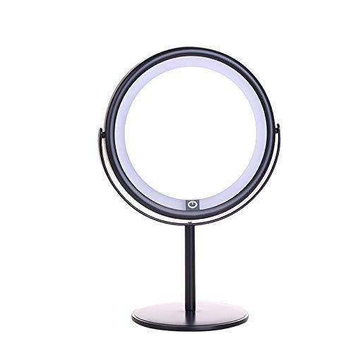 LCJTTBD Miroir Maquillage LED grossissant LED Ronde Double Face HD Noir Miroir cosmétique Lumineux