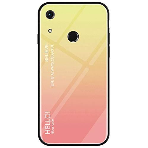 BINGRAN Honor Play 8A Fingerprint Hülle, Gradient Color Gehärtetes Glas Rückendeckel + Weiche TPU Silikon Stoßstange Stoßdämpfung Schutzhülle Handy Hülle für Huawei Honor Play 8A (Fingerprint) Gelb