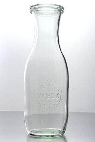 Weck 6 Einkochgläser 1,0 Liter Saftflasche RR60 mit Glasdeckel und Auswahl Zubehör im Original Karton (Mit Glasdeckel, Ringen und Klammern)