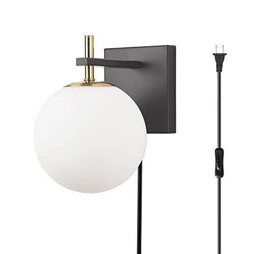 1-Light Plug-in or Hardwired Modern Wall Sconce, Bathroom Wall Lighting Fixture, Matte Black Finish, Milk White Glass Shade, G9 Lamp Base