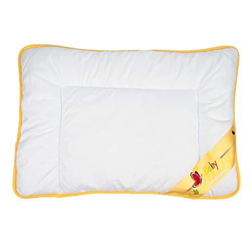 Traumschloss Baby Kinder Flach Kopfkissen | Weiß | kuschelig weicher Bezugsstoff | atmungsaktive Faserfüllung | bis 95° C waschbar | 40 x 60 cm