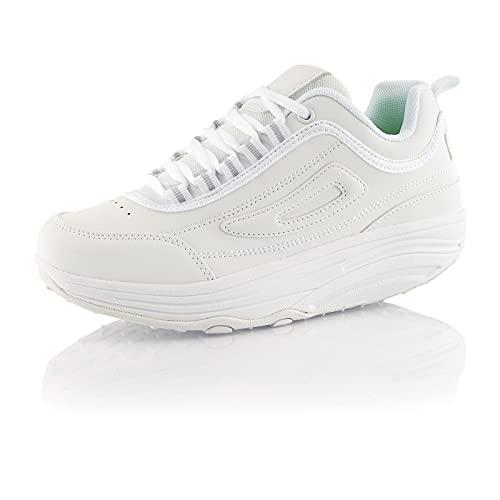 Fusskleidung® Damen Herren Sneaker Abrollsohle Sportschuhe leichte Gesundheitsschuhe Weiß EU 38