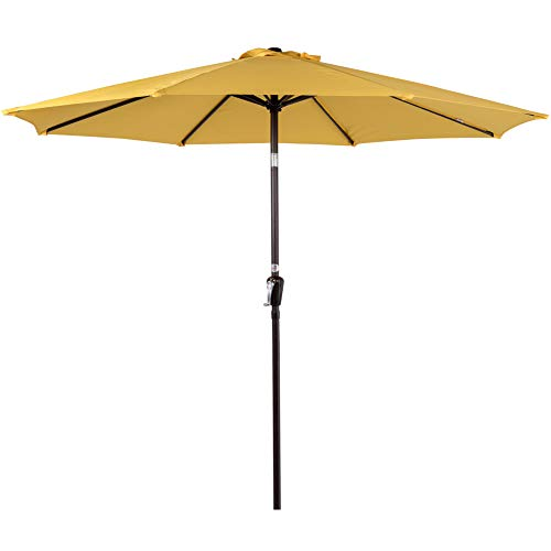Sundale Outdoor 10FT Patio Umbrella Table Umbrella Market Umbrella with Aluminum Pole & Auto Tilt, Polyester Canopy Shade for Patio, Garden, Deck, Backyard, Pool, Yellow