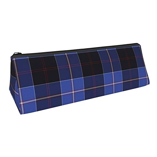 Triangle Pen Bag Dunlop Tartan Blue Cosmetic Bags Storage Bags Stationery for Schools Students Offices Pen Pouch 8.6 X 3.1 Inch