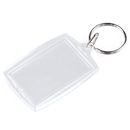 SODIAL(R) 10 STK transparent Leer Einsatz Foto Bilder Rahmen Schlüsselring geteilt Schlüsselanhänger - Durchsichtig