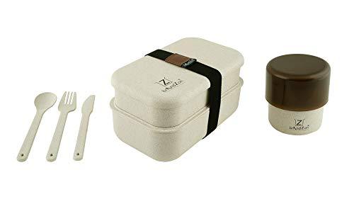Brandzon® - Lunch Box Eco SKISCIA Porta Pranzo Ermetico in Plastica Ecologica da 1200ml con Posate A Due Scomparti + Eco KUP Contenitore Ermetico per Alimenti da 420ml - Kit 2 in 1 - Versione 2020