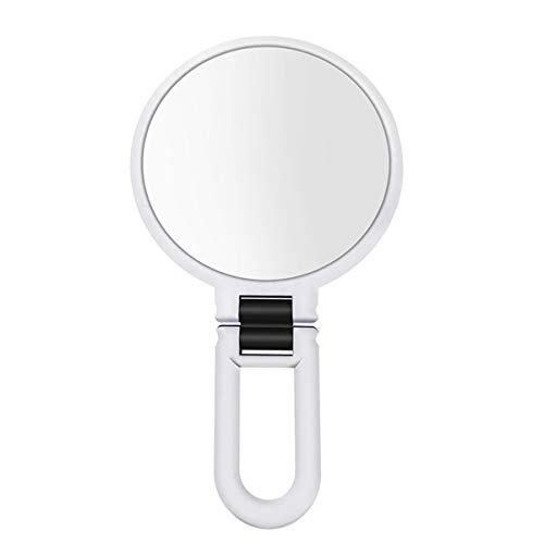 2/3/5 / 10X Miroir grossissant à main Maquillage Voyage pliant Miroir Forme ronde double face avec maquillage sur pied Miroir blanc 5X