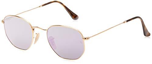 Ray-Ban Unisex Hexagonal Sonnenbrille, Gold (Gestell: Gold,Gläser: lila 001/8O), Small (Herstellergröße: 48)