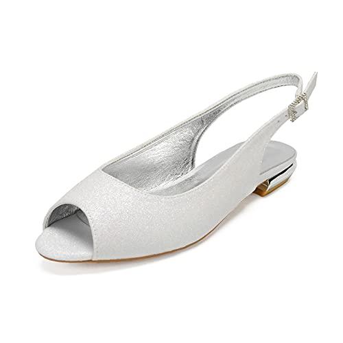 AQTEC Zapatos De Novia De Boda Plano con Punta Abierta para Mujer...