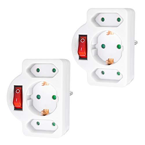 benon 2 regletas blancas con interruptor - Adaptador de enchufes con mecanismo de seguridad para niños - Toma doble 3680W - Regleta triple - 2 Euro y 1 Schuko - Ladrón