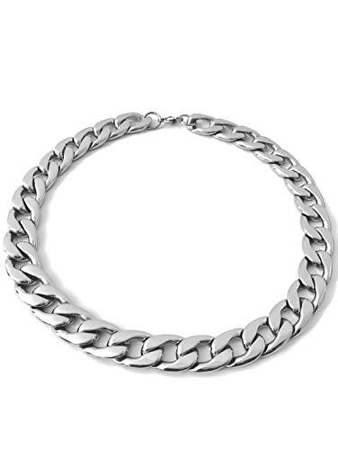 RUGGED steel Damen Halskette Edelstahl massiv stylische XXL Statement Gliederkette Panzerkette breit & schwer Karabinerverschluss Farbe Silber hochglanzpoliert (45, Edelstahl)