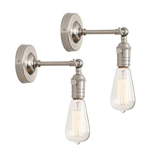 Phansthy 2 Stücke Wandbeleuchtung Wandleuchten Vintage Industrie Loft-Wandlampen Antik Deko Design Wandbeleuchtung Küchenwandleuchte (Gebürsteter Edelstahl Farbe)