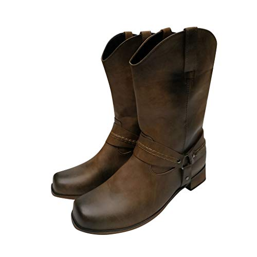 WHSHINE Herren Vintage-Cowboystiefel mit breiter Wade Reitstiefel mit mittlerer Wade Blockabsatz Plain Toe Leder Slouch Stiefel
