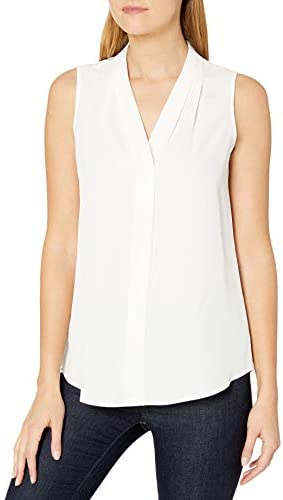 Calvin Klein Women s Sleeveless Blouse with Inverted Pleat Standard and Plus Soft White Medium product image