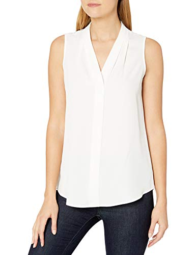 Calvin Klein Women's Sleeveless Blouse with Inverted Pleat (Standard and Plus), Soft White, Medium