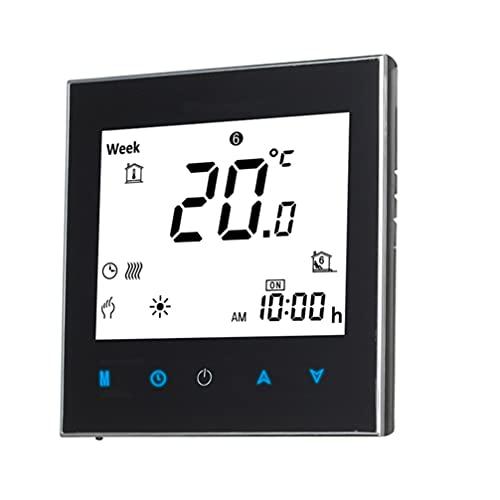 IMIKEYA Termostato Inteligente Pantalla Táctil LCD Digital Controlador de Temperatura de Calefacción Eléctrica Pantalla de Tiempo Montada en La Pared para El Hogar Oficina Escolar Hotel