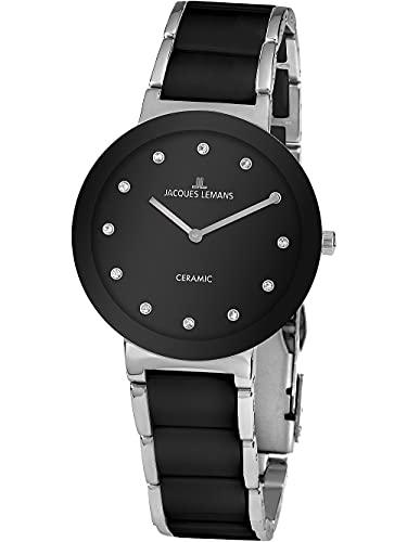 Jacques Lemans Damen-Uhren Analog Quarz One Size Schwarz 32016865
