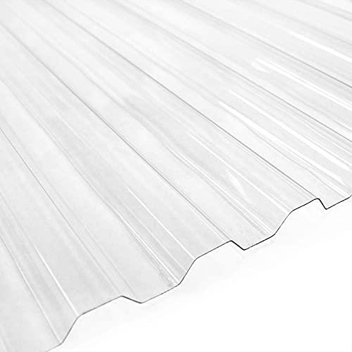 Ezooza Placa corrugada de policarbonato SuperDur. Greca 76/18, grosor 1 mm, transparente, 126,5 x 100 cm (10 hojas)