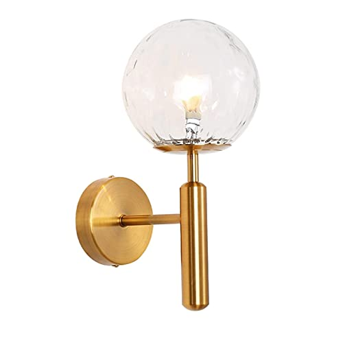 LITINGT Modern Gold Metal Wall Light with 15cm Globe Clear Shade Small Wall Lamp 12.5 Inch Indoor Decor Industrial Wall Sconce Vintage E14 Socket for Home Bedroom Kitchen Bar Lighting Fixture
