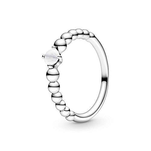 Pandora Anillo solitario para mujer, plata de ley 925, talla 52, color blanco