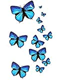 Oottati Small Cute Temporary Tattoo Blue Butterfly (2 Sheets)