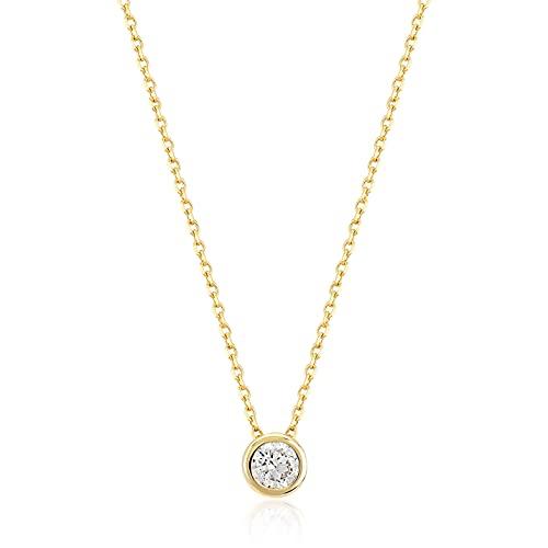 Damen Gold Halskette aus 14 Karat - 585 Echt Gelbgold mit Zirkonia Stein Solitär Anhänger - Geschenk für Geburtstag Weihnachten - Goldkette 45 cm