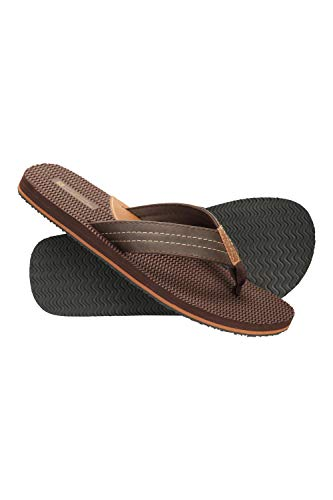 Mountain Warehouse Mens Zig Zag Flip Flops- Lightweight & Durable Summer Shoes & Sandals. Great for In The Garden, At Home, On The Beach & Holidays Marrón 42