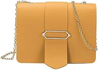 YXHM AU Bag Female New Simple Small Square Bag Belt Buckle Messenger Bag Wild Chain Shoulder Bag (Color : Yellow)